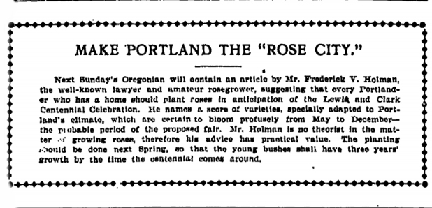 1901-12-06 Oregonian Make Portland the Rose City