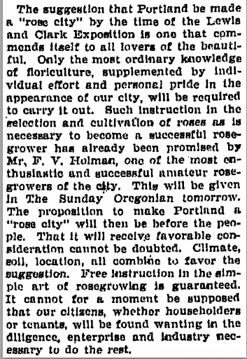 1901-12-07 Oregonian Suggestion to make Portland Rose City for Lewis and Clark Expo