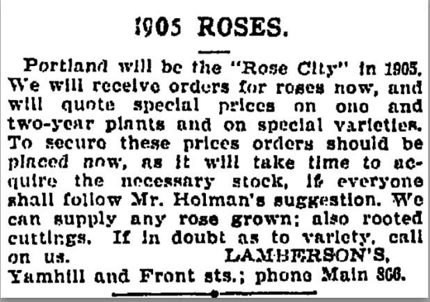 1901-12-15 Oregonian 1905 Roses