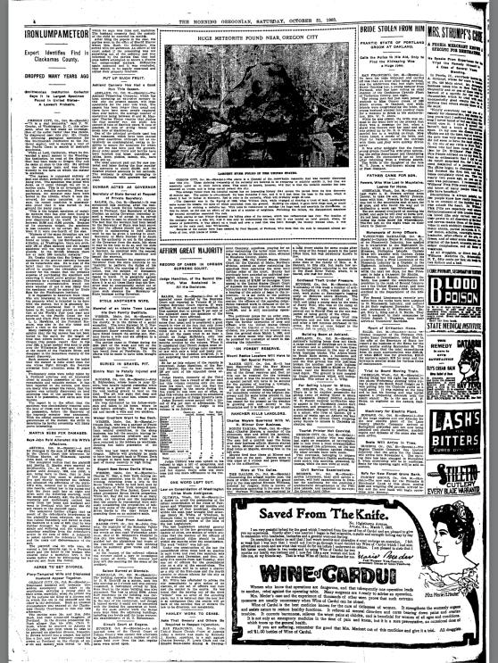 1903-10-31 Oregonian Huge Meteorite Found Near Oregon City