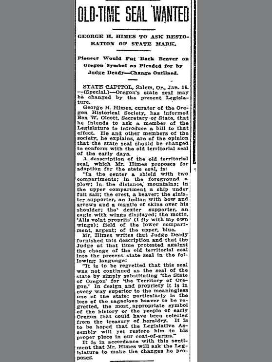 1915-1-17 Oregonian Alis Volat Propriis
