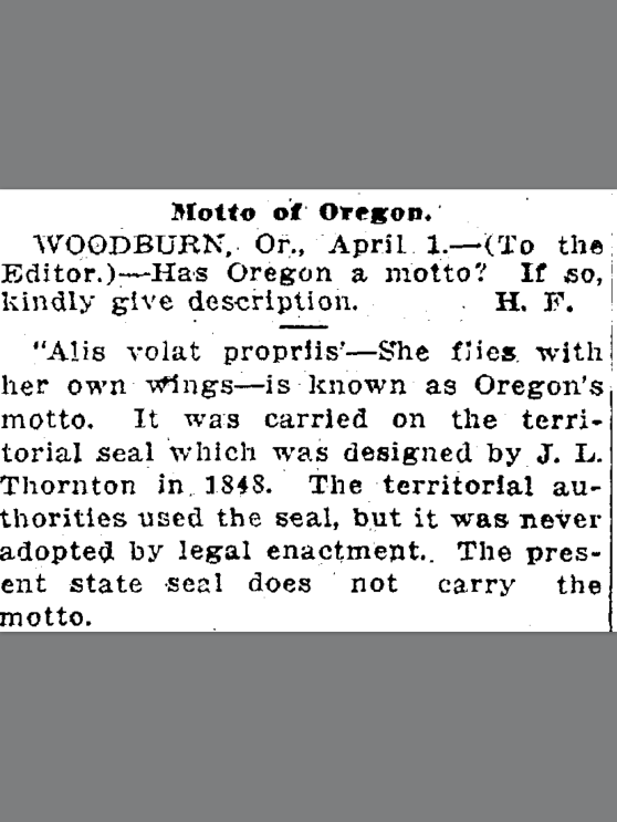 1918-4-3 Oregonian.  Motto of Oregon
