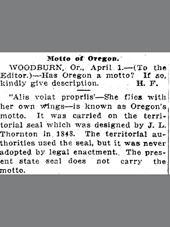 1918-4-3 Oregonian.  Motto of Oregon