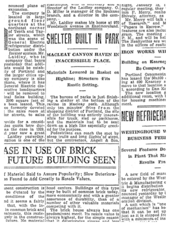 1930-1-12 Oregonian Shelter Built in Park
