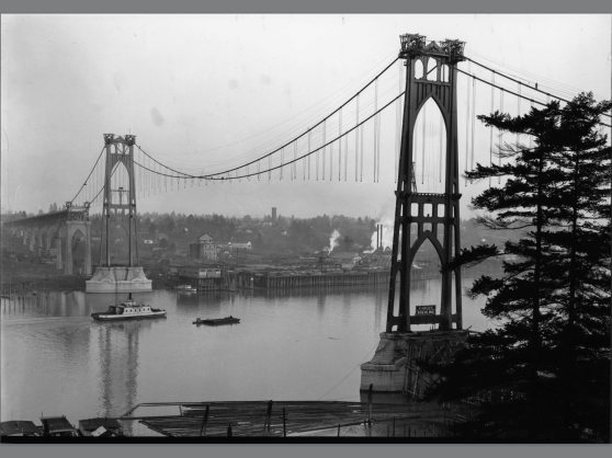 St Johns Bridge being built (Photo Portland City Archives)