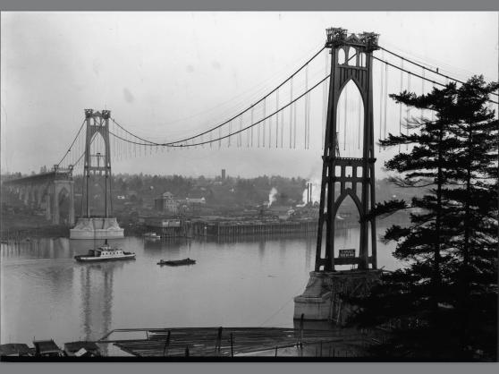 St Johns Bridge being built (Photo Portland City Archives)