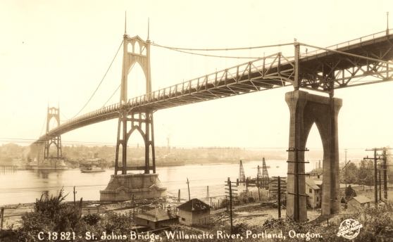 St Johns bridge looking east in 1937 (Photo Portland City Archives)