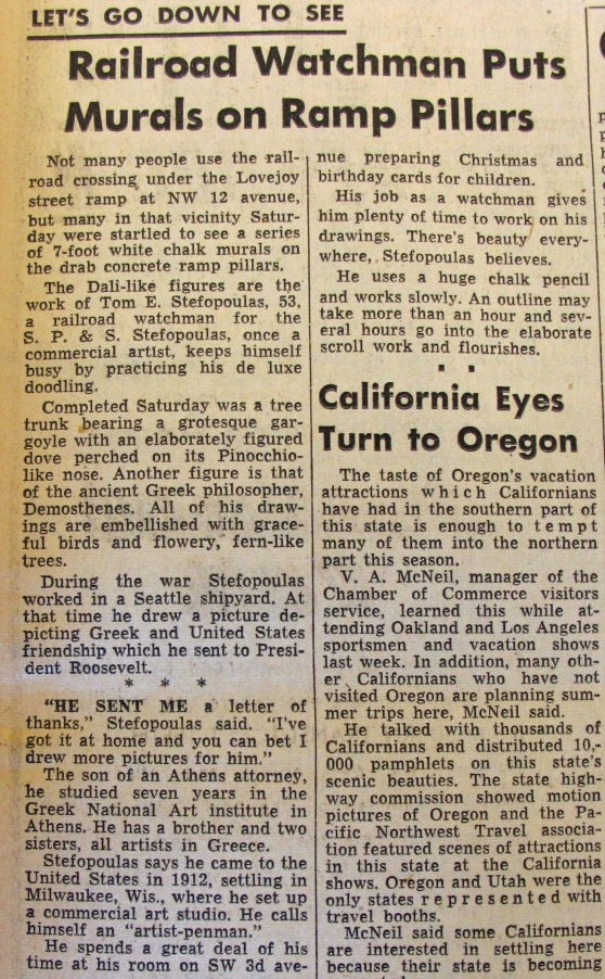 1948-4-25 Oregon Journal Lovejoy's first media appearance.