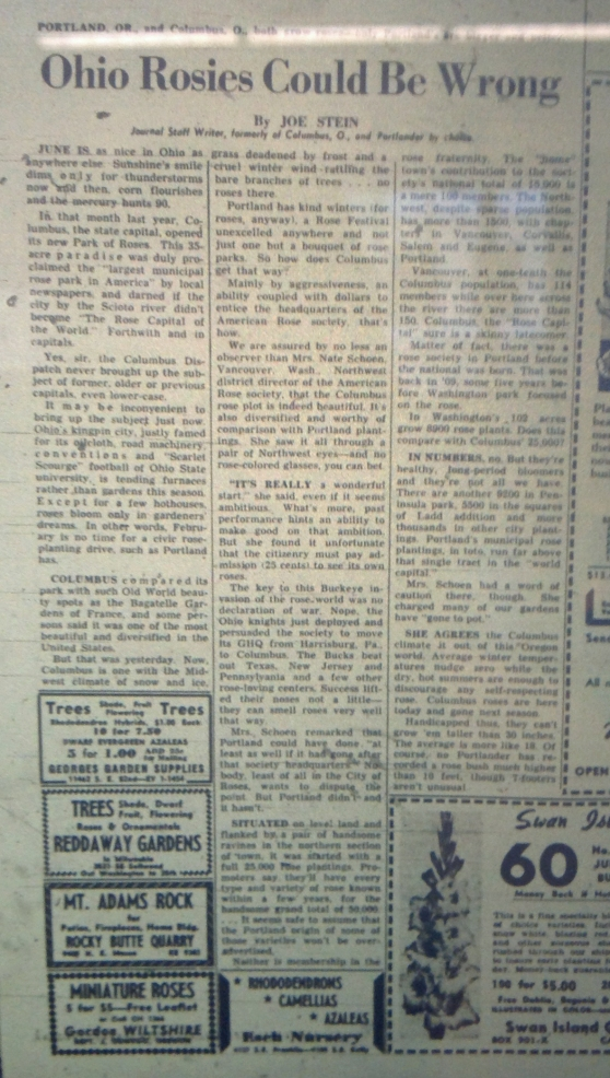 "1954-2 Oregon Journal ""Ohio Rosie's Could be Wrong"""