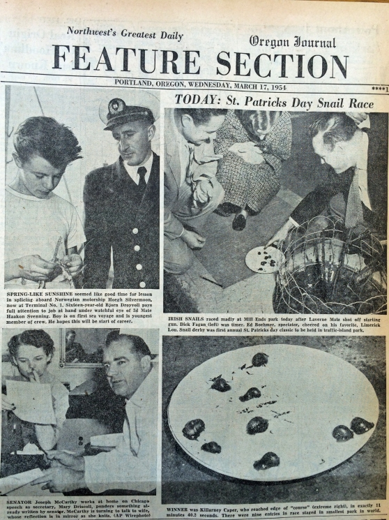 1954-3-17 Journal Snail Races at Mill Ends