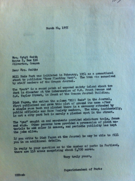 1955-3-24 City Archives letter from Parks dept about Mill Ends creation