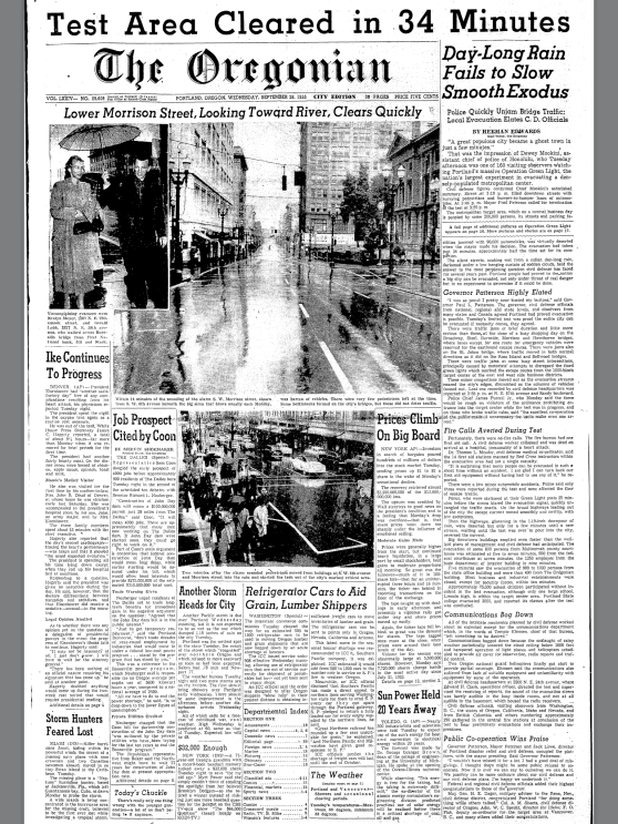 1955-9-28 Oregonian. Test Area Cleared in 34 Minutes Operation Green Light