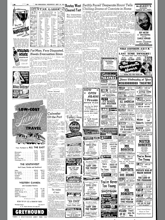 1955-9-28 Oregonian. Routes West Cleared Fast