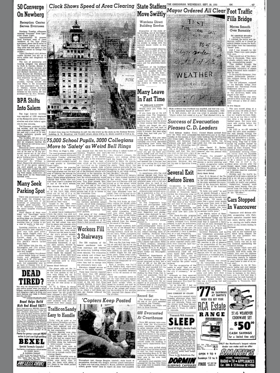 1955-9-28 Oregonian. Success of Evacuation Pleases C.D. Leaders