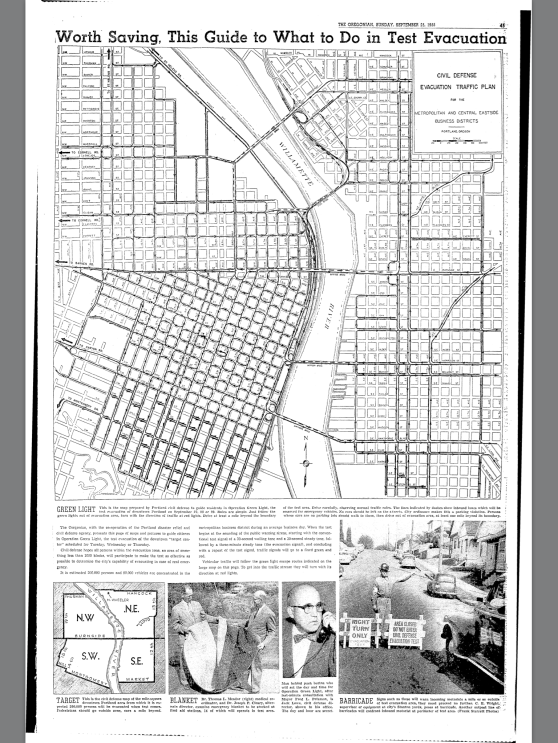 1955-9-25 Oregonian Evacuation Map Operation Green Light