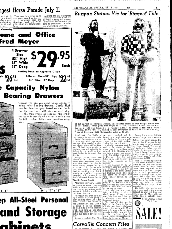 1959-7-5 Oregonian Bunyan Statues Vie for Biggest Title