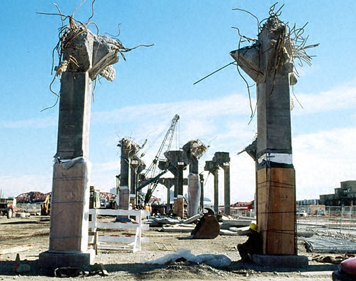 Deconstruction of the Lovejoy ramp.   Columns were salvaged thanks the the work of RIGGA