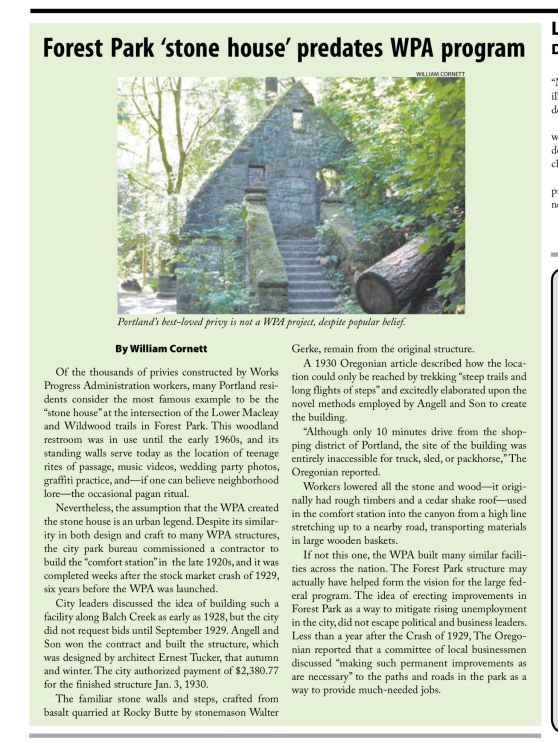 2012-3 The NW Examiner Forest Park Stone House Predates WPA