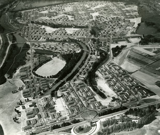 Aerial photo of Vanport City, from the Portland City Archives