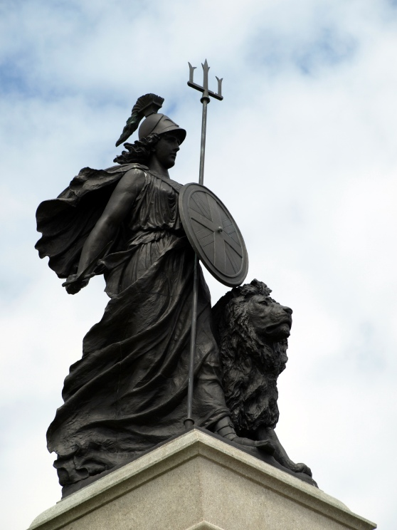 "A statue depicting Britannia the ""Grandmother of Portlandia"""
