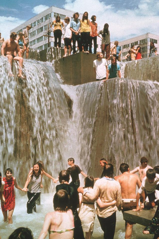 Hippies in Forecourt Fountain (Portland City Archives)