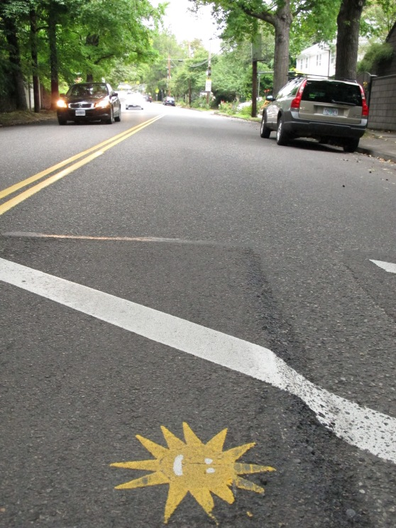 Cornell Road speed bump stencil