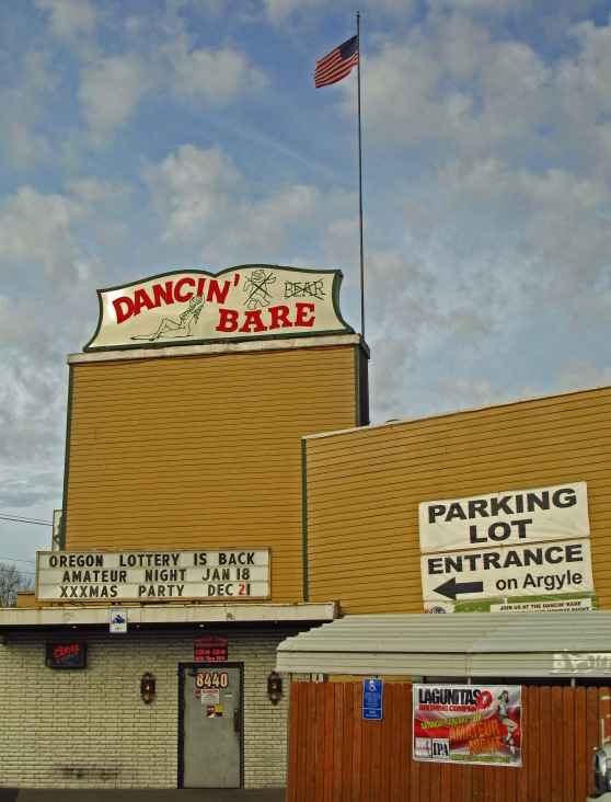 Dancin Bare strip club in Kenton across from Paul Bunyan