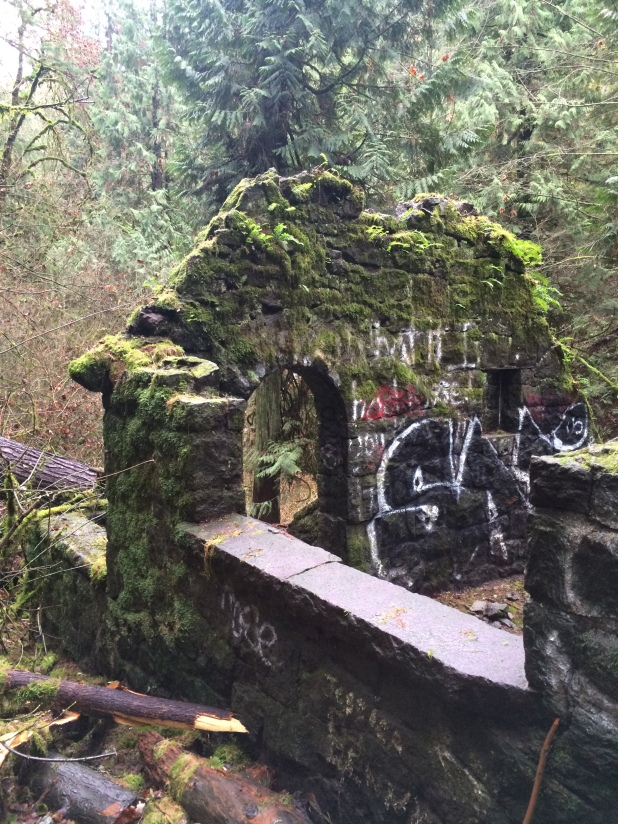 Damage done to the stone house Dec 2015 by storms. Lots of graffiti lately - Why???