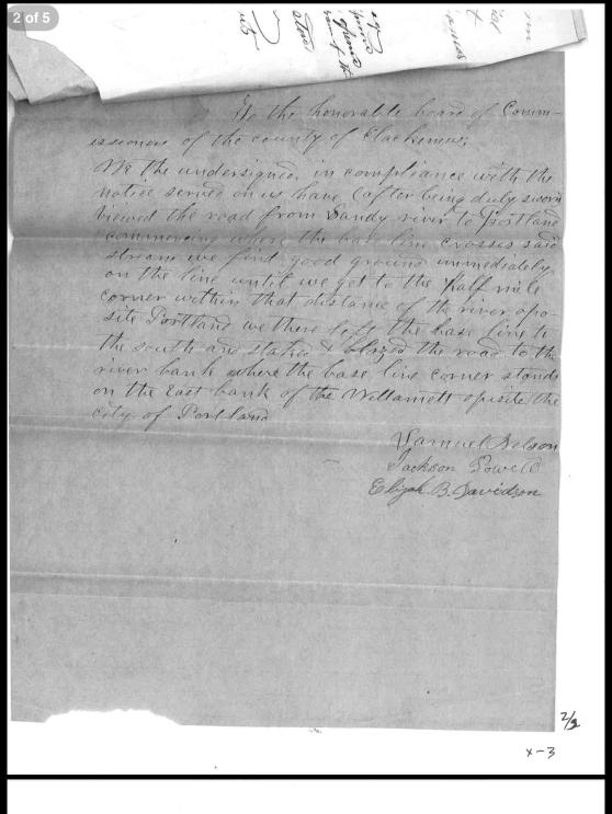 Letter regarding building baseline road from Sandy river to Portland
