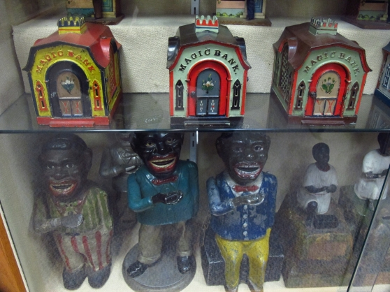 Politically Incorrect banks at Kidd's Toy Museum.