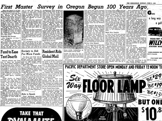 "1951-6-3 Oregonian ""First Master Survey in Oregon Begun 10o Years Ago"""