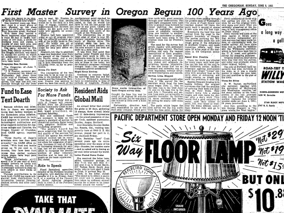 "1951-6-3 Oregonian ""First Master Survey in Oregon Begun 10o Years Ago"""