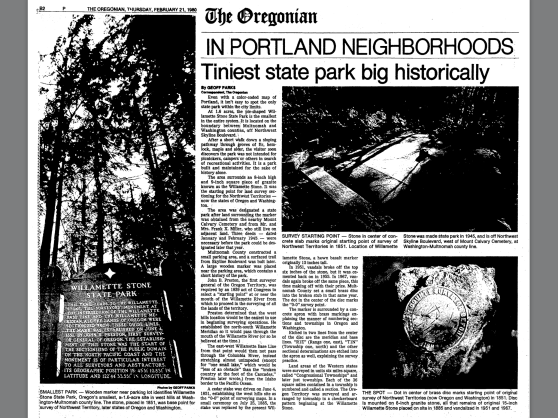 "1980-2-21 Oregonian ""Tiniest State Park Big Historically"""