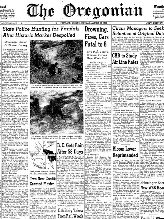 "1951-8-13 Oregonian  ""State Police Hunting Vandals After Historic Marker Despoiled"""