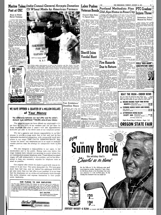 """1951-8-14 Oregonian """"Sheriff Joins Vandal Hunt"""""""