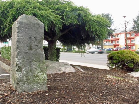 Stark Street Markers (Milestones) P6 in the parking lot of Elmer's Pancake house