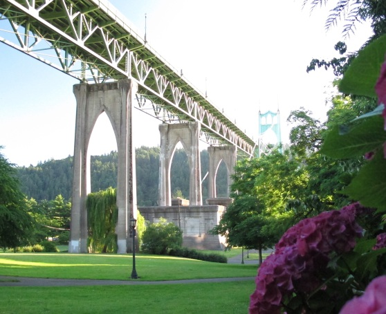 The St. Johns Bridge Portland from Cathedral Park
