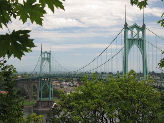 St. Johns Bridge Portland as seen from Germantown Road