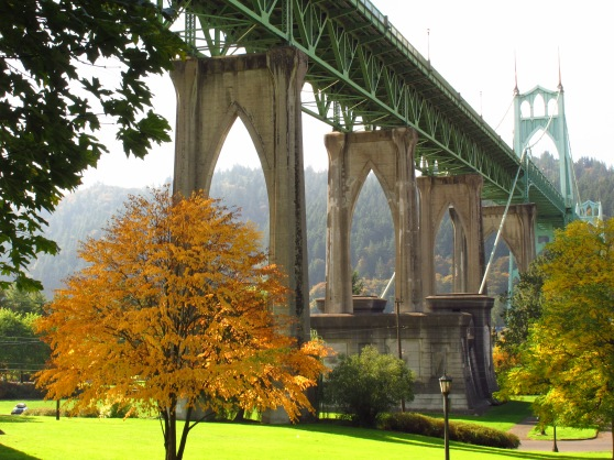 Fall at Cathedral Park under the St. Johns Bridge.