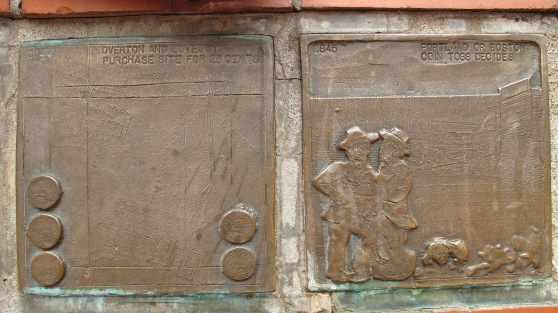 Pioneer Courthouse Square bronze relief plaques in the amphitheater/echo chamber.