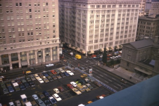 The parking lot that predated Pioneer Courthouse Square (photo Portland City Archives)