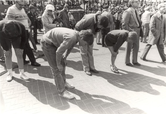 Opening day at the New Pioneer Courthouse Square.  People checking out the bricks with the names of folks who donated money to the project.