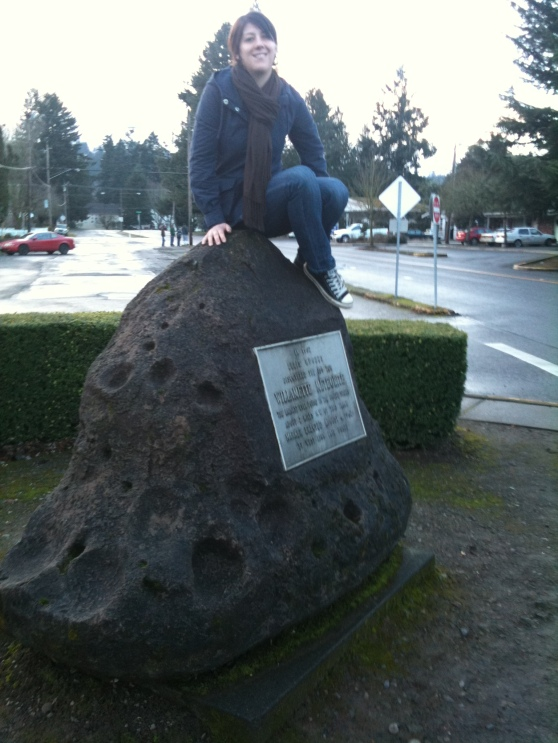 Publisher atop a replica of the Willamette Meteorite
