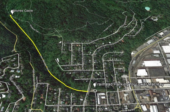 A trail map from NW Upshur parking to the Witches Castle along Lower Macleay.