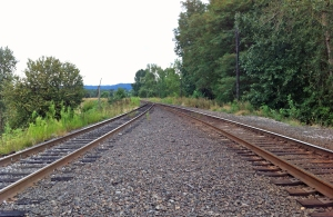 Looking the opposite direction on the tracks at the site of the catastrophic dike failure
