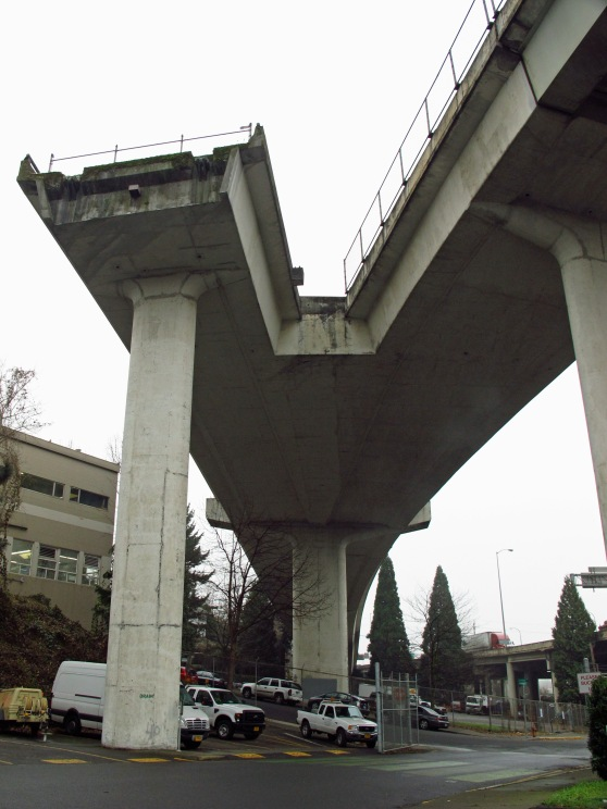 The View of the above ramp from below off of N. Borthwick.