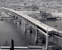 Another view of the Marquam Bridge with it's never-connections to the Mt Hood Freeway.  (Photo Portland City Archives)