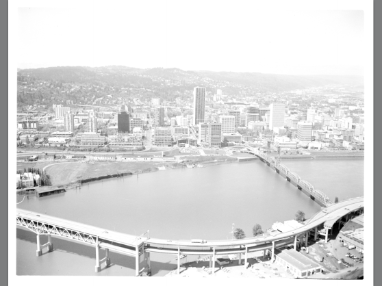 A photo as the Marquam remained for years after the Mt Hood Freeway project was abandoned. (Photo Portland City Archives)