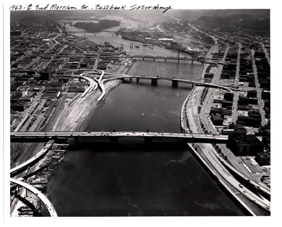Eastside interchanges being built in 1963. (Photo Portland City Archives)