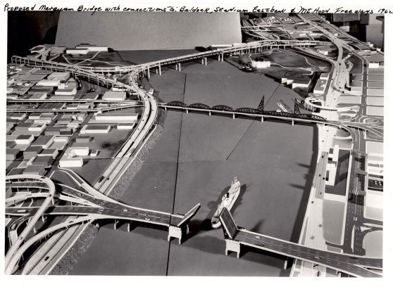 A mock up of the proposed Marquam Bridge and the freeway interchanges for Robert Moses's elaborate freeway system. (Photo Portland City Archives)